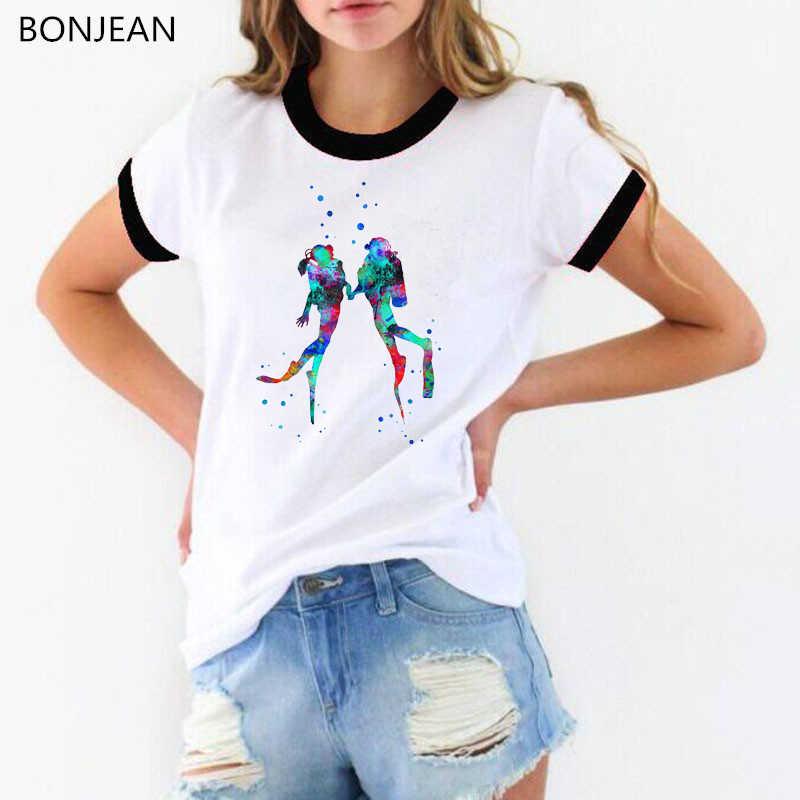 2019 été hauts mode t-shirt femmes aquarelle plongée sous-marine divers couple imprimé t-shirt femme hipster cool dame t-shirt femme