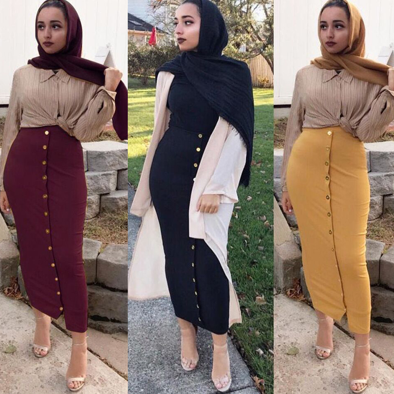 cf2ef35fe25 Plus Size 2019 Summer Abaya Musulmane Women High Waist Button Bodycon Maxi  Skirt Long Turkish Islamic Skirts Clothing Jupe Femme