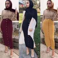 Plus Size 2019 Summer Abaya Musulmane Women High Waist Button Bodycon Maxi Skirt Long Turkish Islamic Skirts Clothing Jupe Femme