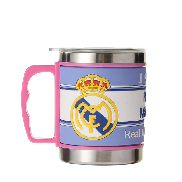 Sport Stainless Steel Coffee Mugs Cups Embossed Customized Football Club Water Tumbler With Lid