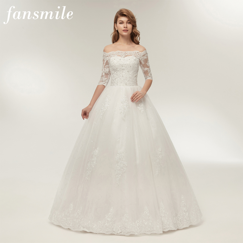Fansmile Vestido de Noiva Sleeve Vintage Lace Ball Gown Wedding Dress 2019 Customize Plus Size Bridal