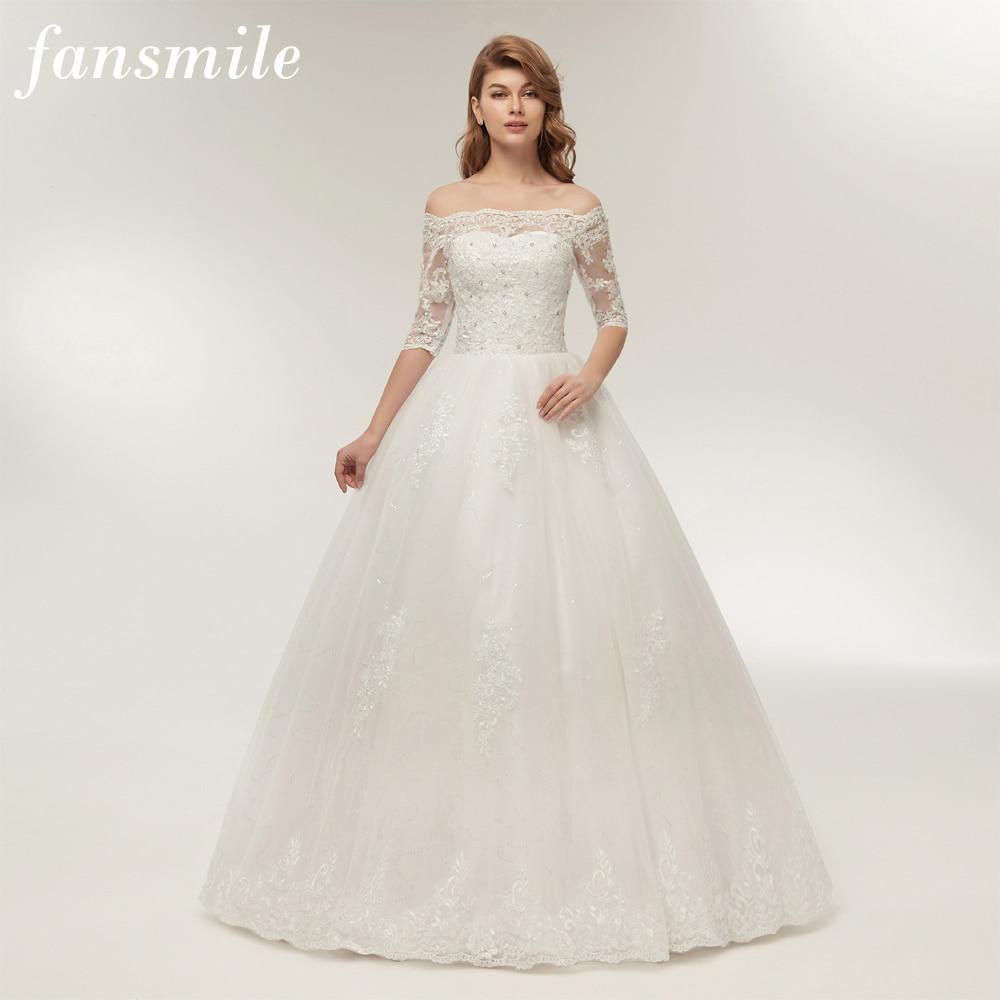 Fansmile Three Quarter Sleeve Vintage Lace Up Ball Wedding Dress 2019  Customize Plus Size Wedding Gown Vestido de Noiva FSM-279F