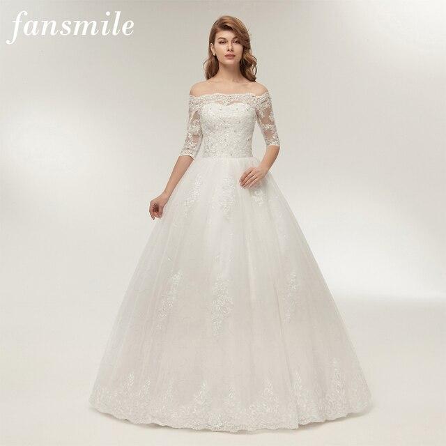 Fansmile Three Quarter Sleeve Vintage Lace Up Ball Wedding Dress