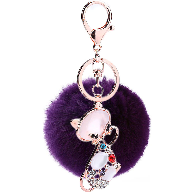 Find Me 2018 fashion Pet cat Rabbit hair ball rings Key Chain women jewelry Holder Purse Bag For Car Lovely Key chain wholesale