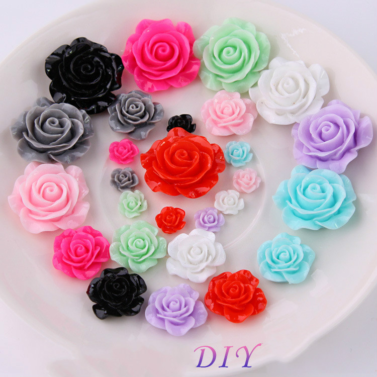 Colorful Resin Rose Flower Accessories For Jewelry Making Supplies Diy Phone Shell Decoration Components Hand Made Materials