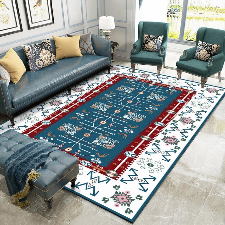 Blue red Mediterranean Nationality geometric flowers Bedroom living room carpet  bedside rug plush custom made floor mat