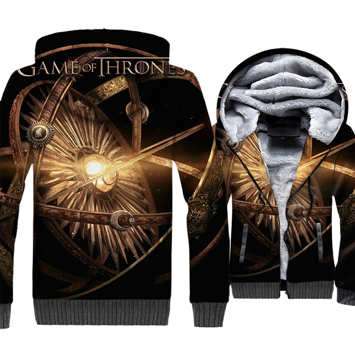 2019 men Game of Thrones jackets harajuku thicken wool liner sweatshirts funny 3D Printing swag clothes brand tracksuits coats in Hoodies amp Sweatshirts from Men 39 s Clothing