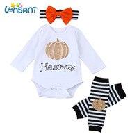 LONSANT Baby Boys Girls Halloween Pumpkin Long Sleeve Romper Leg Warmers Headband Clothes Set Funny Baby