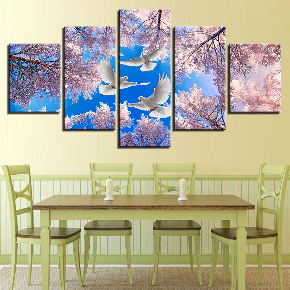 Canvas Pictures Wall Art Home Decoration 5 Panel Dove Cherry Blossom ...