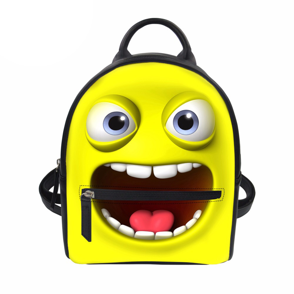 Femmes sac à dos drôle Emoji souriant dessin animé visage impression dames sac à dos mode sac à dos pour faire du Shopping adolescente filles Mochila