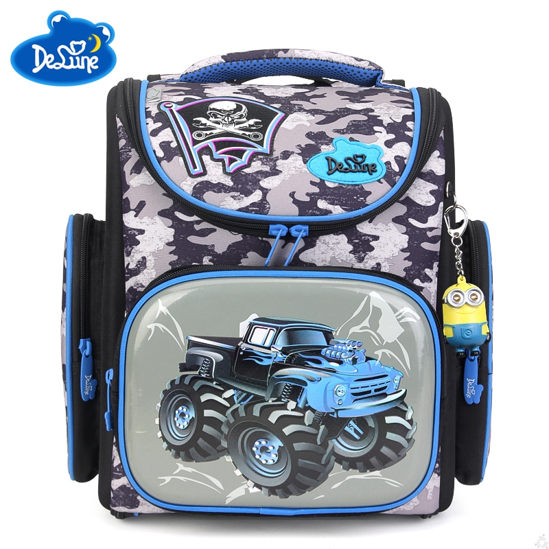 Delune Orthopedic Backpacks Children Primary School Bags Boys Cartoon Car Bear Backpack School Knapsack Boy Rugzak Kids Book Bag