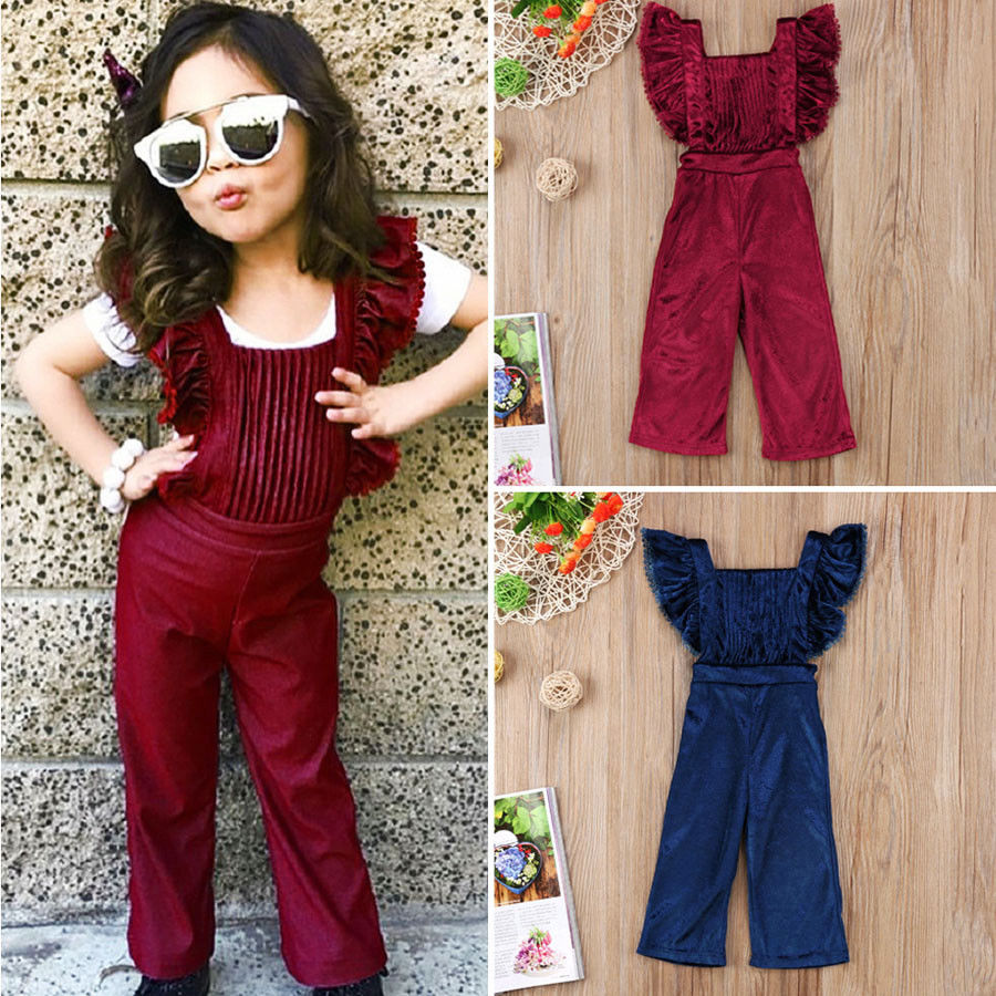 1dcf9c954e5 PUDCOCO Newest Toddler Kids Girls Velvet Bib Pants Backless Pop Romper  Jumpsuit Outfits summer Unique Suit 0-6Y