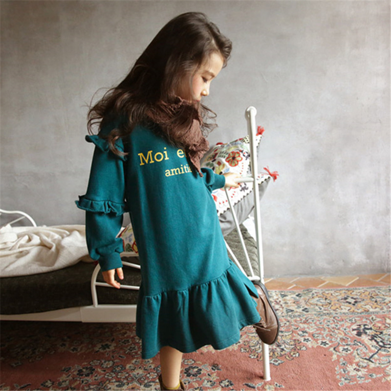 12d808b69 2018 Korean Style Spring Baby Girls Dress Long Sleeve Teenage Kids ...