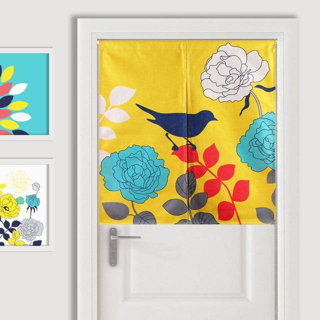 Blumen Vogel Blau Gelb Klassische Einfache Moderne Tur Vorhang