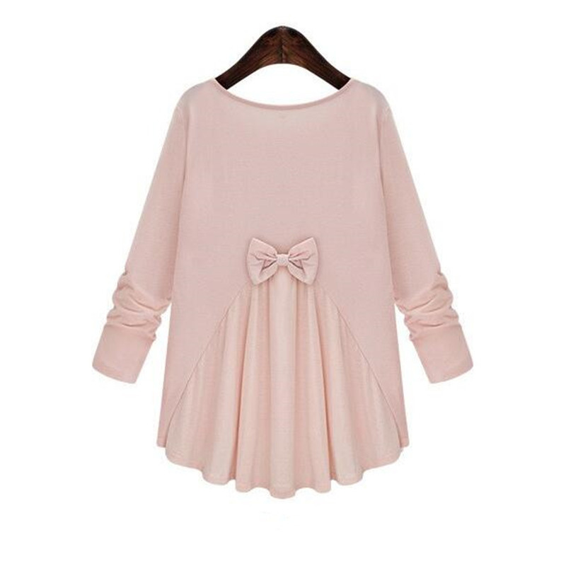 Plus Size L-5XL SpringAutumn Maternity Blouse Long-sleeve Shirts Bow Tops Pregnancy Clothing Clothes For Pregnant Women Premama
