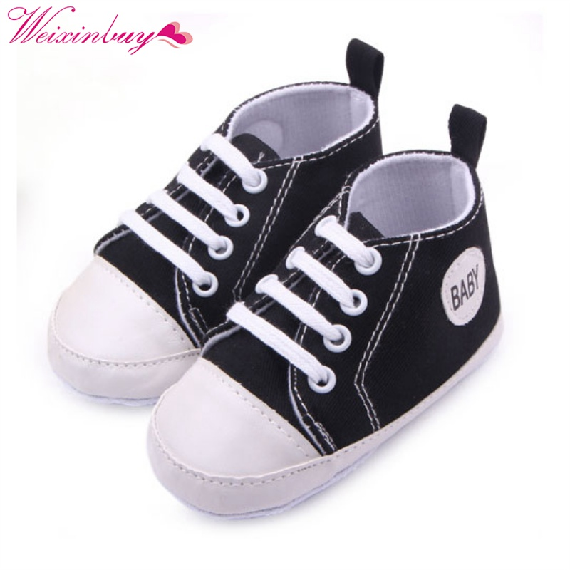 WEIXINBUY Infant 0-12M Toddler Canvas Sneakers Kids Baby Boy Girl Soft Sole Crib Shoes First WalkersH2