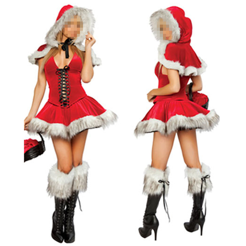 2016 Sexy Christmas Costumes For Ladies Sleeveless Red Skirt Two Piece Stretch Velvet Hooded Faux Fur Trim Velvet Santa Claus