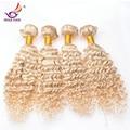 Grau 7a 613 loira virgem cabelo louro brasileiro cabelo brasileiro profunda curly 4 pcs lote 8 - 32 polegada honey blonde cabelo brasileiro barato