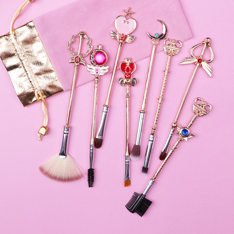 AiceBeu Sailor Moon Sakura Cosmetic Brush Makeup Brushes Set 8pcs Tools Kit Eye Liner Shader Natural-Synthetic Pink Hair Tool