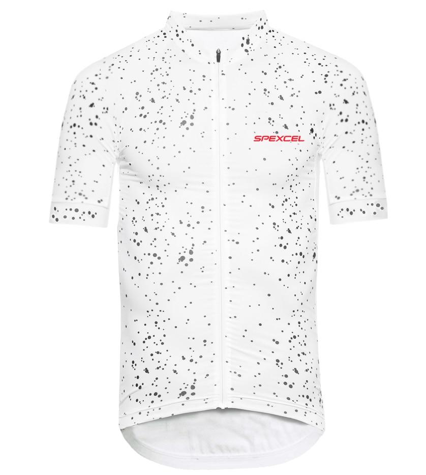 Prix pour 2017 imprimer dot blanc à manches courtes vélo jersey top qualité vélo vitesse pro course fit cool route vélo vêtements livraison gratuite