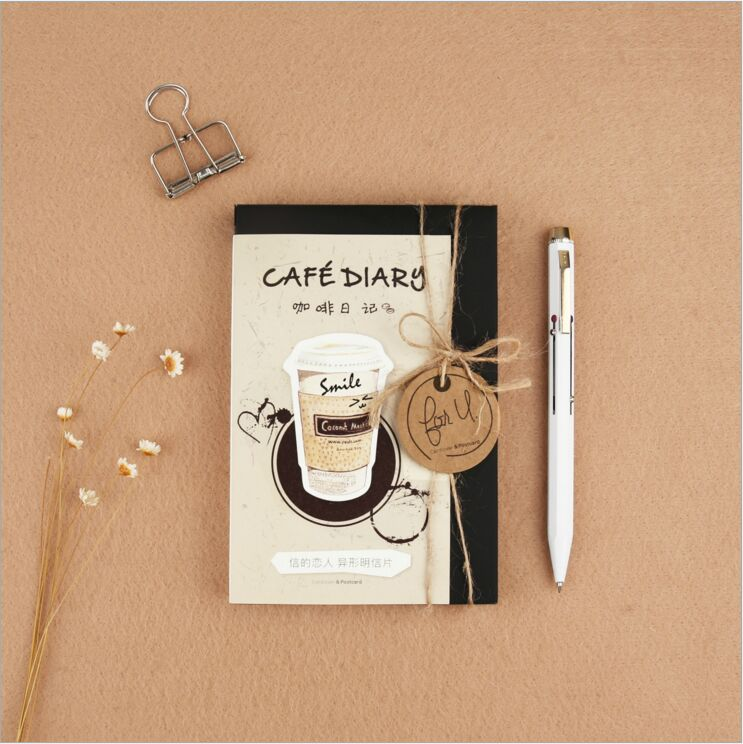 30 Pcs/pack Creative Cup of Coffee Shape coffee diary Postcard DIY Envelope Gift Birthday Card Mini Message Card Paper Bookmark creative cup of giraffe pattern square shape flax pillowcase without pillow inner