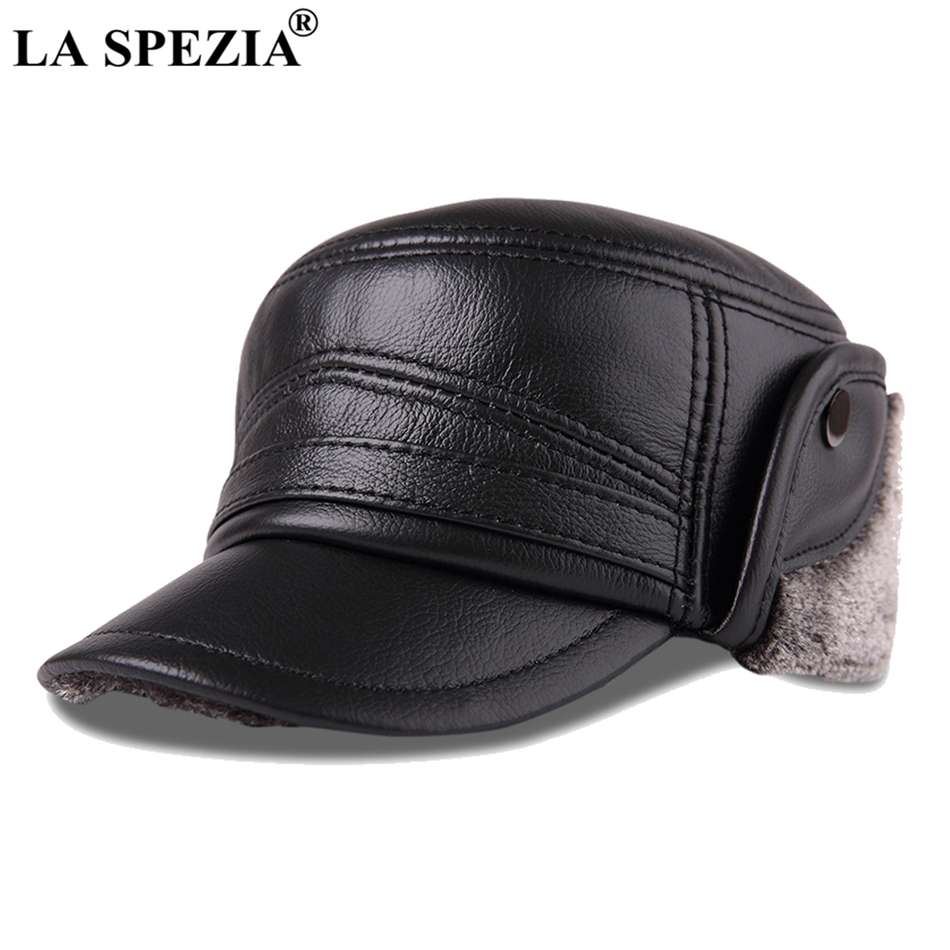 bf2ffaa5277 Detail Feedback Questions about LA SPEZIA Bomber Hats Genuine Leather Ear  Flap Cap Men Black Warm Ushanka Fur Hat Male Winter Thick Vintage Baseball  Caps ...