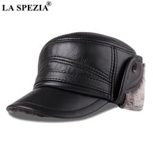 LA SPEZIA Bomber Hats Genuine Leather Ear Flap Cap Men Black Warm Ushanka Fur Hat Male Winter Thick Vintage Baseball Caps 2019