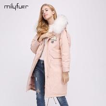 Milyfuer Casual Fur Parka Women Long Pink Slim With Raccoon Fur Collar Autumn Winter Warm Zipper Full Sleeve Real Fur Parkas