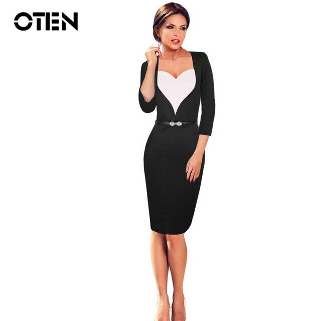 OTEN plus size pencil dress Women 3 4 Sleeve Sexy Heart Elegant Ladies  Office Work 94e990c6cf67