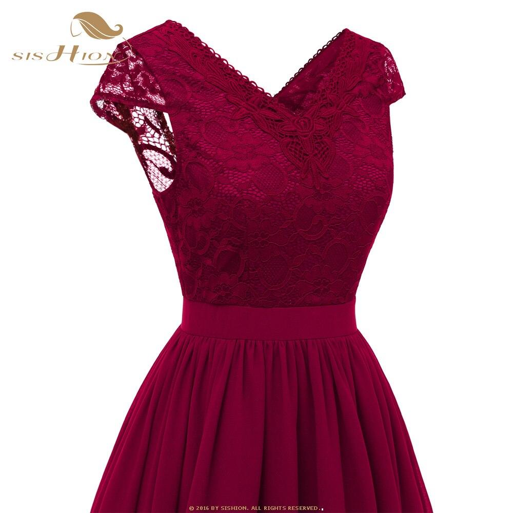 ba310c0e92a32 SISHION Elegant Lace Dress Short Sleeve Dark Blue Pink Wine Red Re...