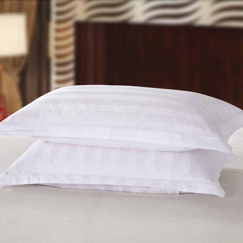 100% Satin Cotton 3cm Stripes Hotel Pillow Case Pure White Square Rectangle Pillowcase Bedding Pillow Cover 50x80cm/58x88cm Size