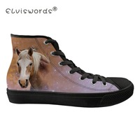 FORUDESIGNS Galaxy Horse Printing Women Canvas Vulcanized Shoes for Woman Breathable Lace up Platform Sneakers Zapatillas Mujer