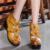 2017 Alta Plataforma Cunhas Bombas Para Mulheres Marca de Couro Genuíno da Plataforma de Salto Alto Bombas Dedo Do Pé Redondo das Mulheres Sapatos Zapatos Mujer