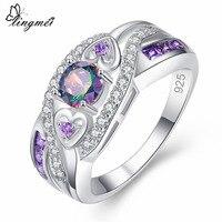 lingmei New Arrival Oval Heart Cut Design Multicolor & Purple White CZ Silver Color Ring Size 6 7 8 9 Fashion Women Jewelry Gift