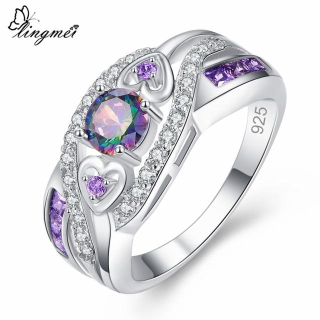 lingmei New Arrival Oval Heart Cut Design Multicolor & Purple White CZ Silver Ri