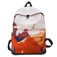 Preppy Style Women Backpack Canvas Printing Female Laptop Bookbag College School bag for Girls Shoulder Travel Bags mochilas цена 2017