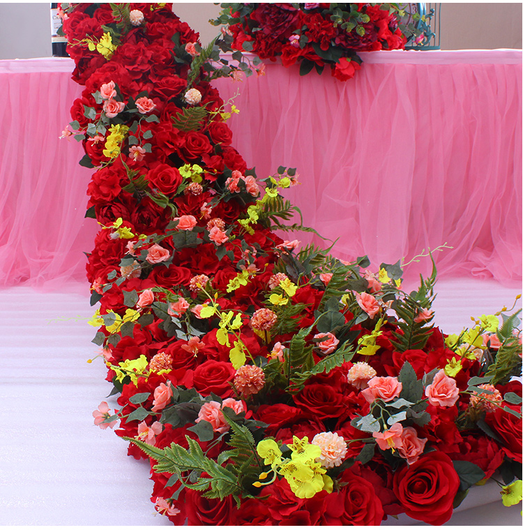 2,1 м длинная Роскошная красная Свадебная настольная дорожка с цветами искусственные шелковые цветочные декорации, свадебное украшение