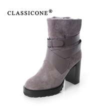 CLASSICONE shoes woman winter ankle fur snow boots genuine leather suede warm wool high heels brand fashion style designers sexy 2016 new brand fashion women winter ankle boots leather thick soled plush with fur warm hand made high heels shoes sexy lady