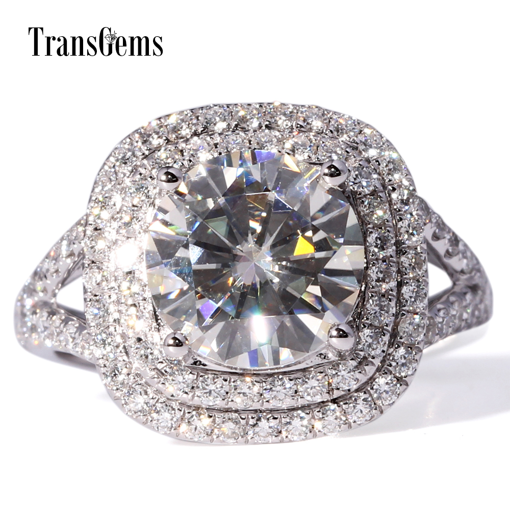 TransGems Center 3ct Lab Grown Moissanite Diamond Double Halo Ring Lab Diamond Accents Solid 14K 585 White Gold for Women