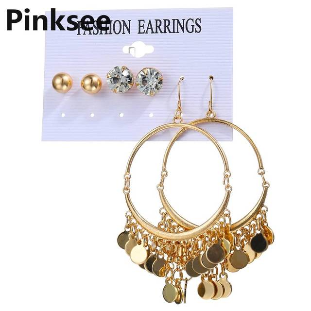 f56e96f2c Big Circle Earrings Set For Women Girls 2019 New Gold Sequin Crystal Earring  Female Fashion Jewelry 3 Pairs/lot
