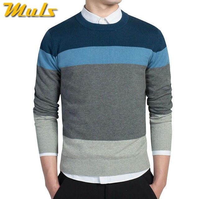 d24d01189205 4 colores 100% suéteres para hombre de algodón cuello redondo suéteres a  rayas jersey para