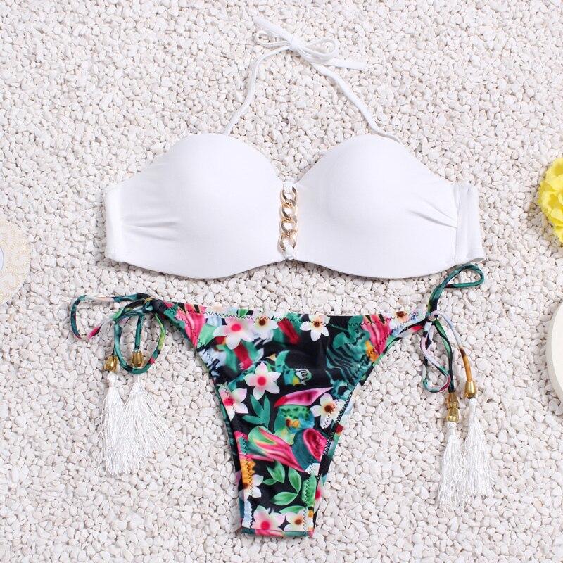 Sexy Push Up Bikini Women Set Froal Bandage Swimwear Padded Bra Brazilian Swimsuit Beach Suite Biquini 2015 New SJ15285-mix1