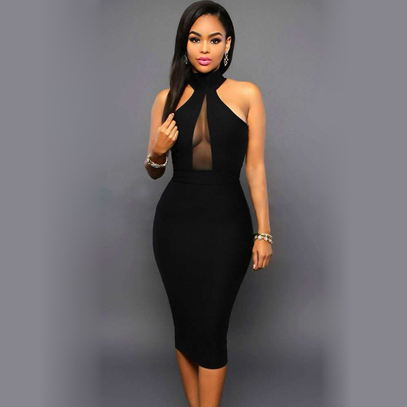 Sexy See Through   Cocktail     Dresses   Black Halter Knee-Length Party Gowns Club Style Robe   Cocktail   Sleeveless Vestidos De Coctel