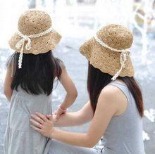 c0a880688e7 2016 Korean Summer Solid curling fisherman straw bucket hat Children straw  hat foldable girls Beach Parent-child Sun Hats