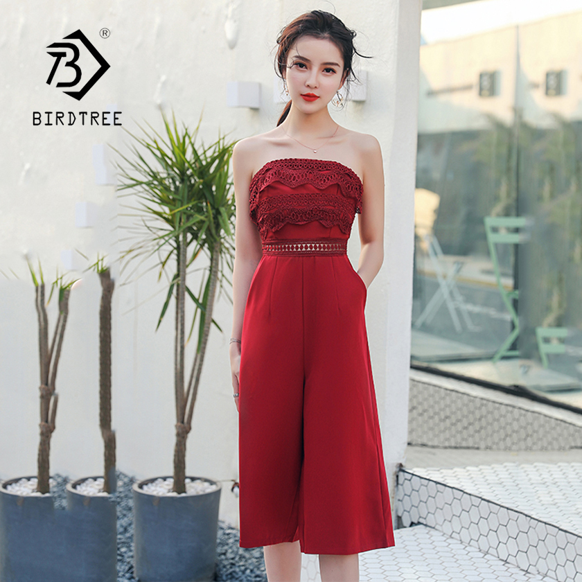 c345dac092e Women s Summer Solid Strapless High Waist Hollow Out Lace Jumpsuits 2018  New Arrival Elegant Wide Leg Jumpsuits Hot Sale S85801F