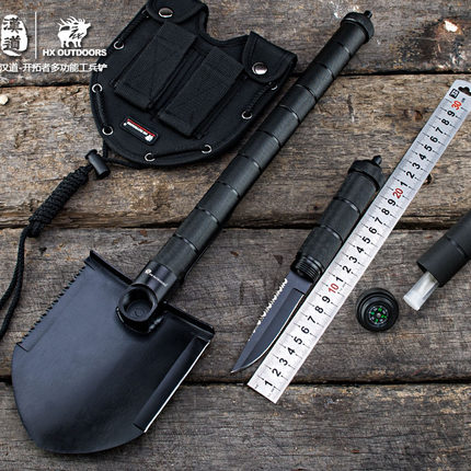 Outdoor Shovel Folding Camping Hunting Tool Multifunctional Sapper Shovel Axe Saw Gear Survival Shovel Military Tactics EDC tool military type stainless steel folding shovel camping tool black size l