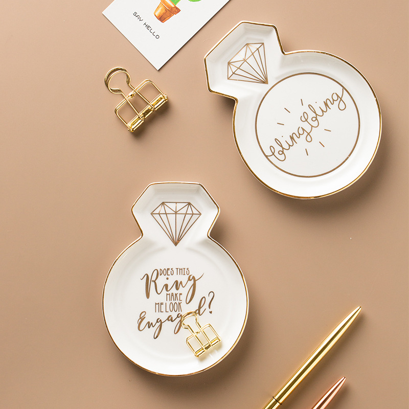 Creative Heart-shaped Delicious Dessert Storage Tray Bow Gold Gilded Letter Small Dish Jewelry Dish Necklace Storage Vanity Tray