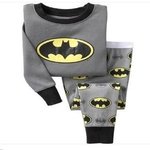 2018 Cotton Boys Pajamas Sets Cartoon Batman Costumes Kids Pijamas Nightwear Long Sleeve Boys T Shirts + Pants Children Clothing