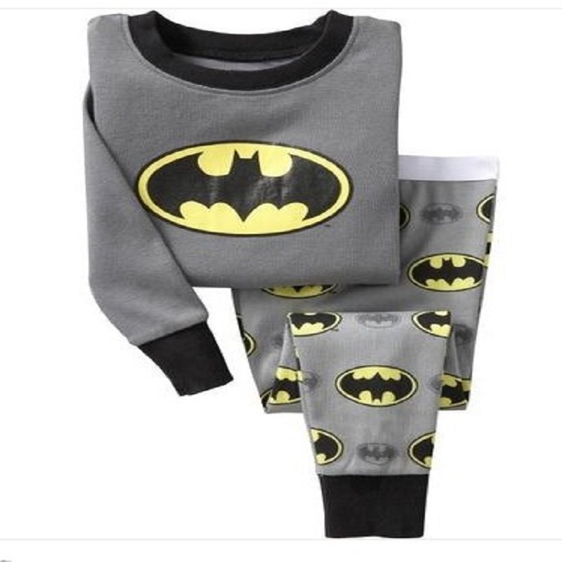 2018 Cotton Boys Pajamas Sets Cartoon Batman Costumes Kids Pijamas Nightwear Long Sleeve Boys T Shirts + Pants Children Clothing