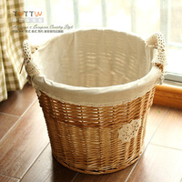 2015 NEW Free Shipping Binaural willow Korean style cloth art storage basket oversized laundry basket with multifunction